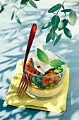 Verrine of small roquette clafoutis,tomato and parmesan