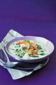 Shrimp,button mushroom,coconut milk and coriander soup