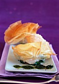 Scallop,spinach and fresh herb filo pastry purse