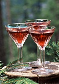 Red martini cocktails