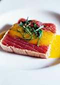 Tuna tatakis with mango coulis