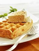 Waffle with touron ice cream