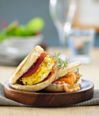 Egg and bacon muffin,salmon and shrimp muffin