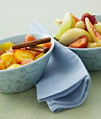 Citrus fruit salad and strawberry and peach fruit salad