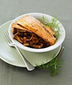 Pan-fried salmon with chanterelles