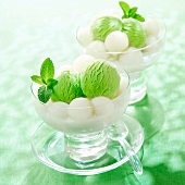 Mint sorbet with melon