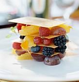 Fresh fruit crunchy mille-feuille