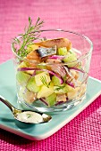 Herring,green apple,cucumber and red onion salad