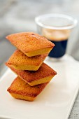 Pile of financiers with coffee