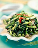Pan-fried spinach and peppers