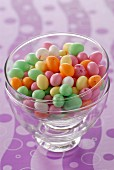 Glass bowl of small easter eggs