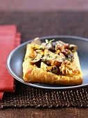 Flaky pastry tart with ceps and walnuts