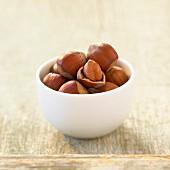 Small bowl of hazelnuts