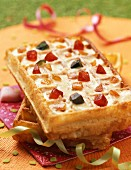 Waffle with cream and candied fruit