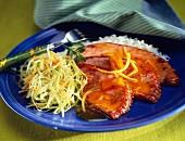 Roast honey-glazed ham with julienned vegetables