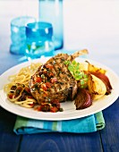 Grilled lamb chop with onions and linguine