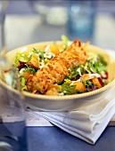 Caesar salad mit Hähnchenfleischspiess