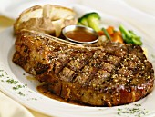 Grilled veal chop with pepper