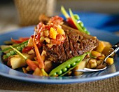 Fried beef with young vegetables