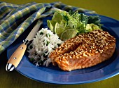 Salmon steak with a sesame seed coating
