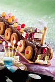A chocolate train cake
