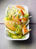 Sweet salad with haddock and grapefruit