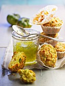 Courgette and goat cheese muffins,green tomato jam