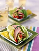 Boiled ham and spring vegetable rolls