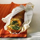 Garlic bread in baking paper