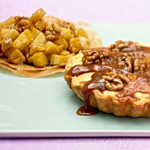 Walnut and toffee tartlet and diced apple filo pastry tartlet