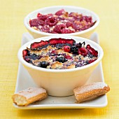 Raspberry and red fruit and almond crumble