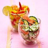 Crab salad with grapefruit and shrimp salad with mango