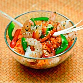 King prawns salad with honey