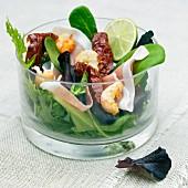Salad with ham and langoustine