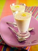 Lemon cream in glasses