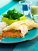 Salmon in filo pastry