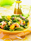 Salad with prawns, oranges and avocado