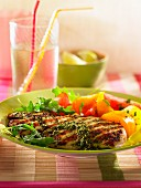 Grilled chicken escalope with pesto