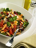 Penne with red beans, tomatoes, spinach and Parmesan cheese