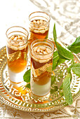 Mint and pine nuts tea glasses