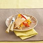 Halibut with mango sauce