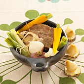 Pot Au Feu (French stew) with a trio of meat