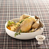 Guinea fowl pot with two radishes