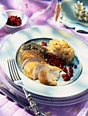Turkey with lingonberries and almond purée