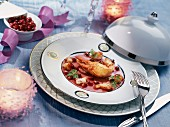 Fine lobster ragout with pomegranate seeds