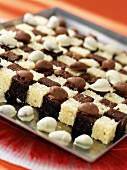 Chessboard cake (sponge cake with chocolate and yoghurt) with chocolate coated almonds