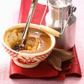 Crème caramel with chocolate