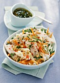 Chicken breast,carrot and white cabbage salad