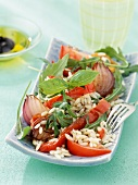 Risi pasta with peppers,onions and basil salad