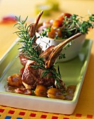 Lamb chops with yellow plums